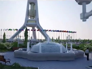 Turkmenistan landscape and pool 3d Animation